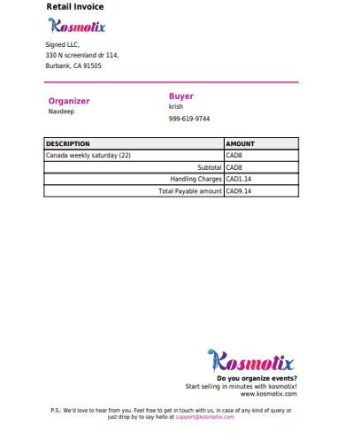 retail invoice sample