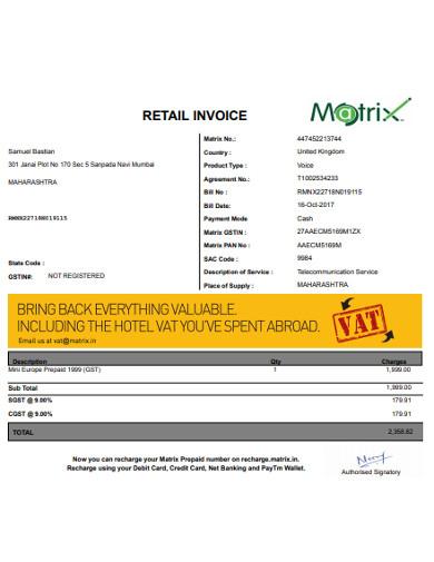 retail invoice in pdf