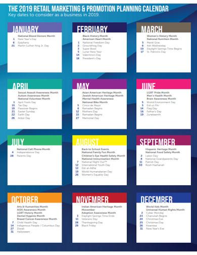 retail marketing promotion planning calendar