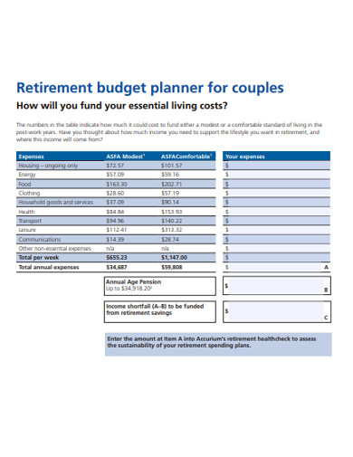 retirement budget planner for couples
