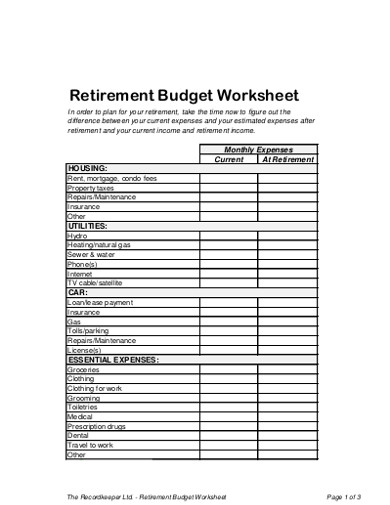 retirement budget worksheet examples