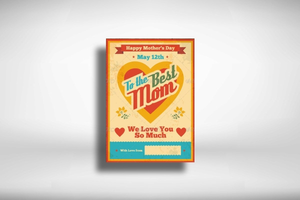 retro mothers day greeting card