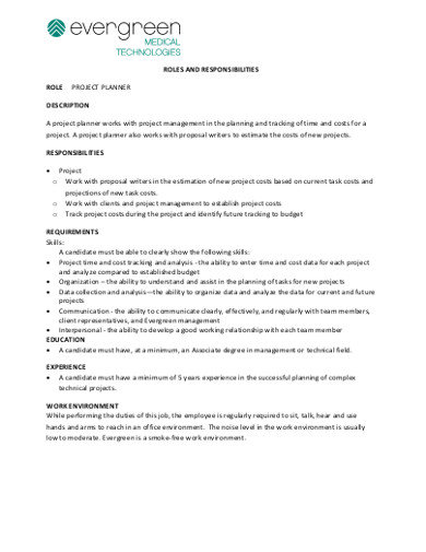 roles and responsibilities project planner