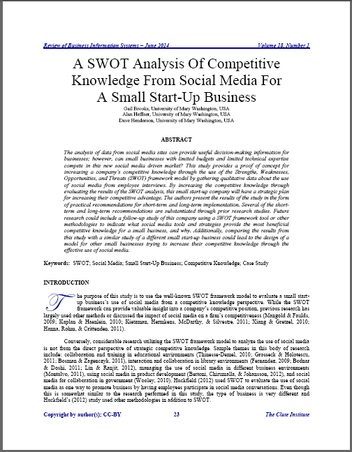 swot analysis of competitive knowledge