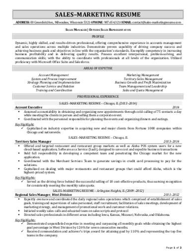 sales markerting resume