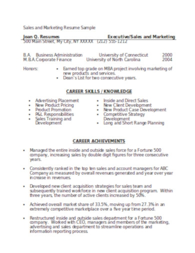 sales marketing resume sample