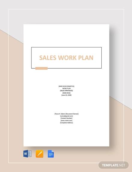 sales work plan template