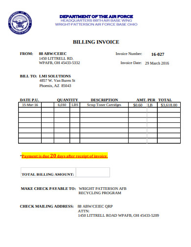 sample billing invoice