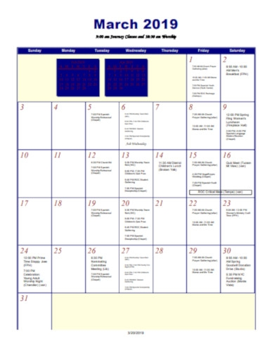 sample church calendar