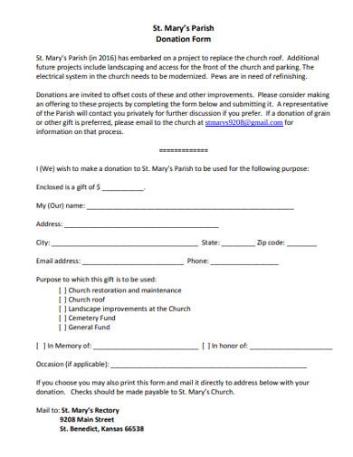 sample church donation form