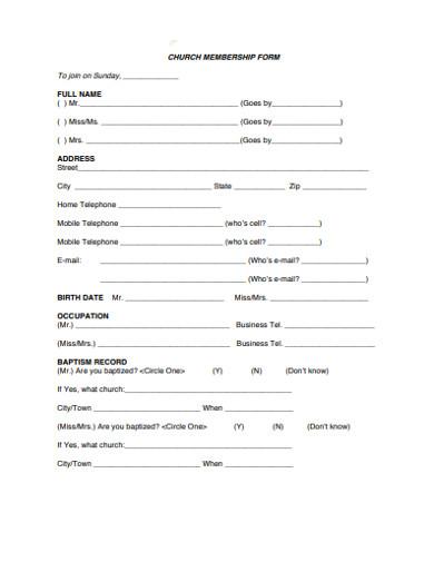sample church membership form