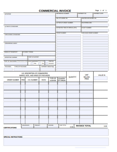 sample commercial invoice