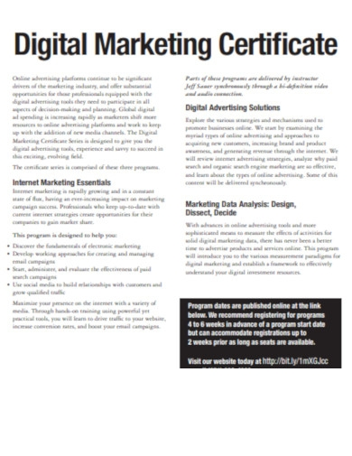 sample digital marketing certificate