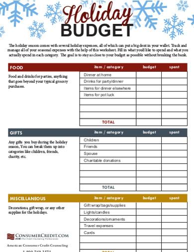 sample holiday budget