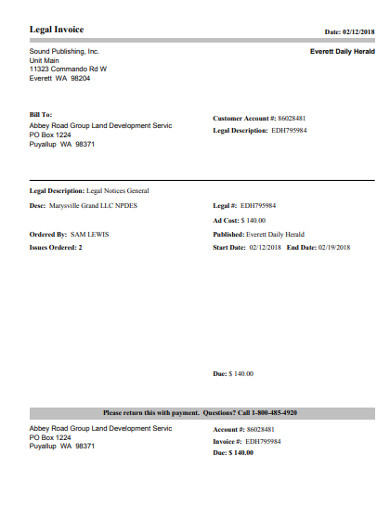 sample legal invoices