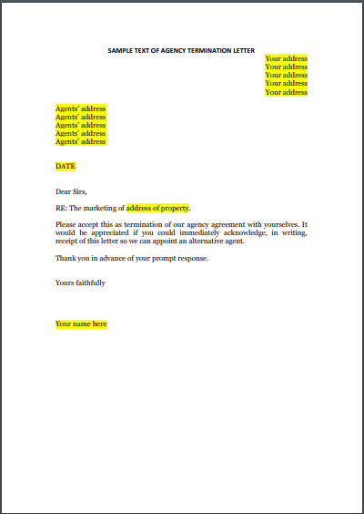 sample letter to terminate real estate agency