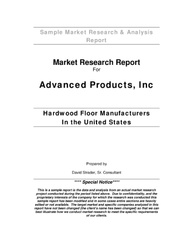 sample market research report