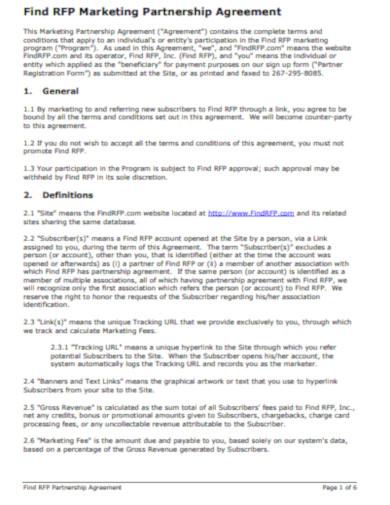 sample marketing partnership agreement