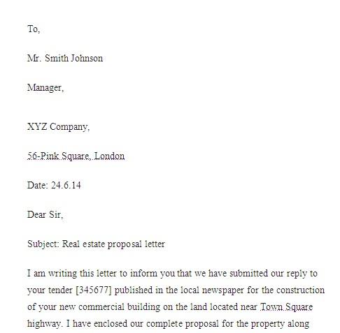sample real estate proposal letter