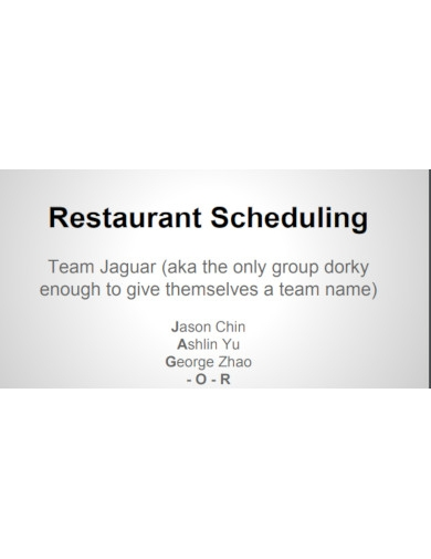 sample restaurant scheduling