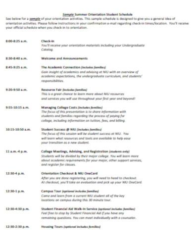 sample summer orientation student schedule