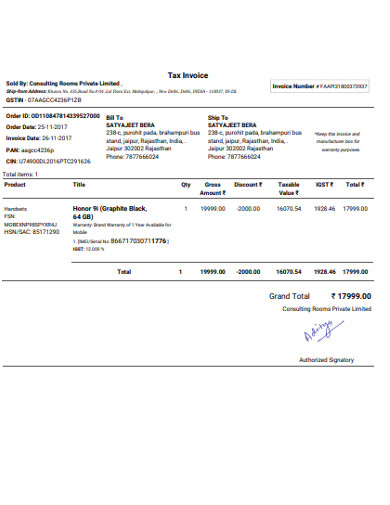 sample tax invoices