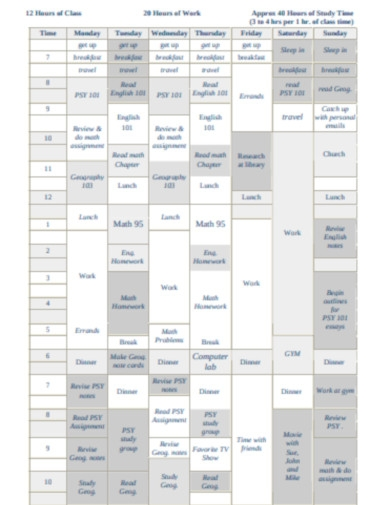 sample weekly schedule for a student