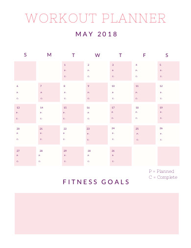 sample workout planner