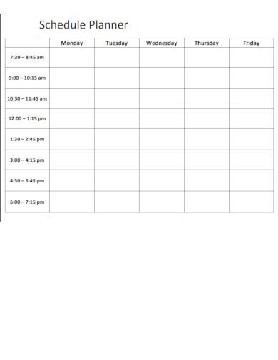schedule planner example