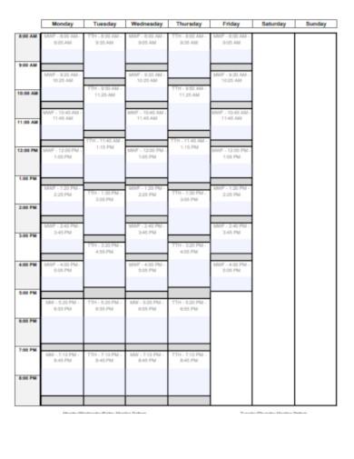schedule planner in pdf