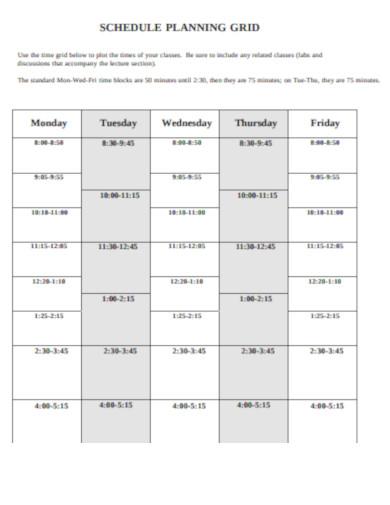 schedule planning grid