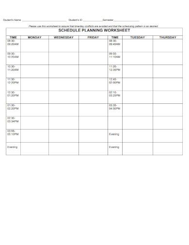 schedule planning worksheet