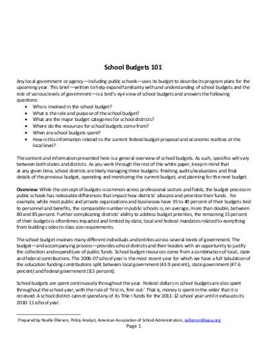 school budget examples