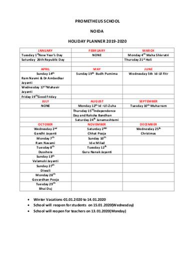 school holiday planner sample