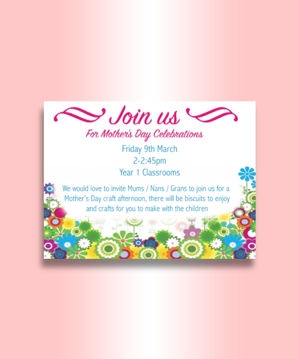school mothers day celebration invitation