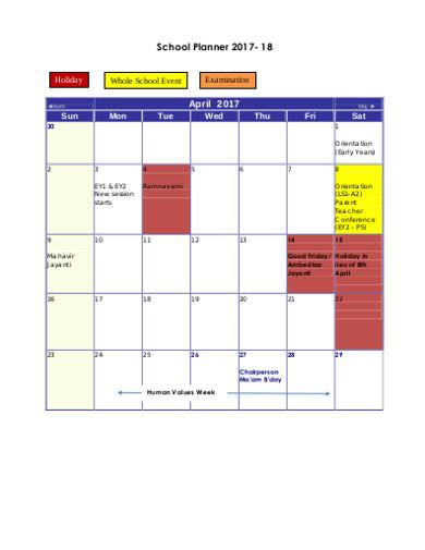 school planner in pdf