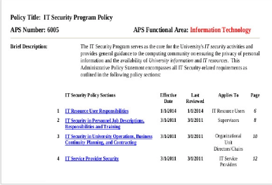 security program policy software document