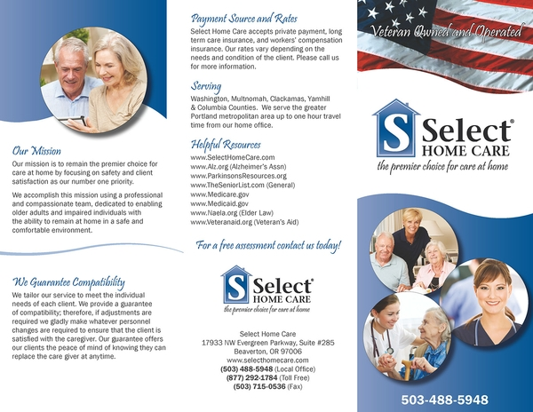 select home care services trifold brochure