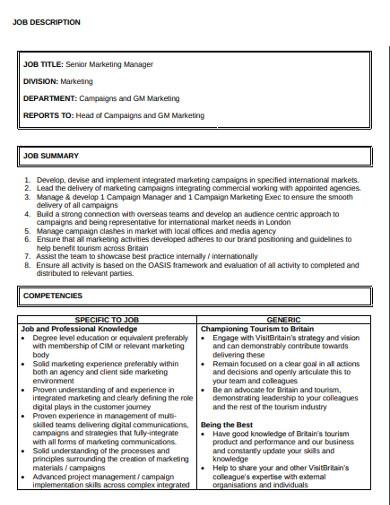 senior marketing manager job description