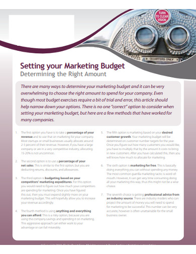 setting of marketing budget