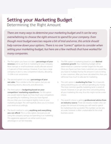 setting your marketing budget