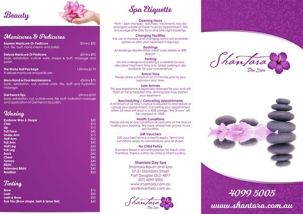 shantara beauty spa trifold brochure