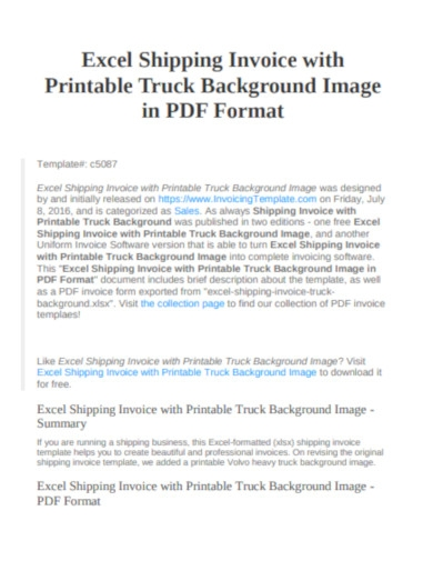 shipping invoice with truck background