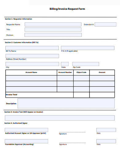 simple billing invoice request form