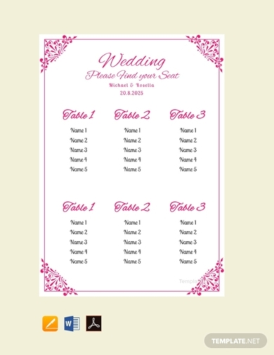simple bridal shower wedding seating chart