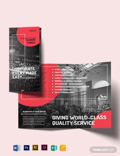 simple corporate event tri fold brochure