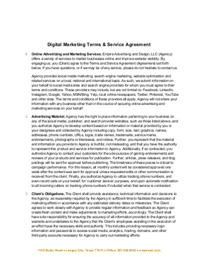 simple digital marketing services agreement