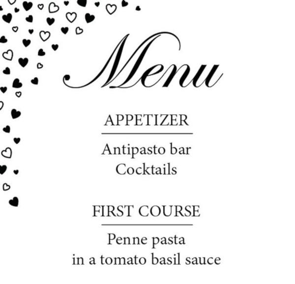 simple event menu