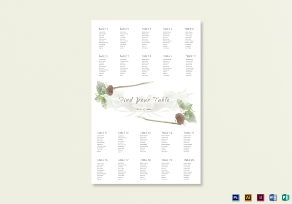 simple fall wedding seating chart template