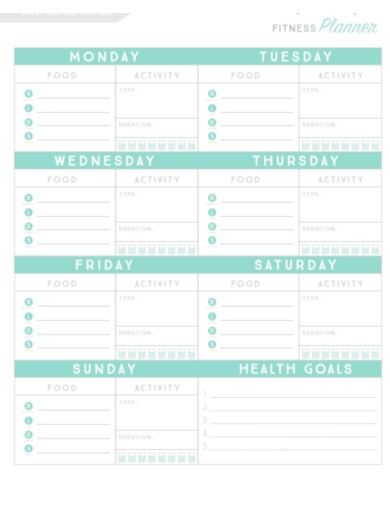 simple fitness planner